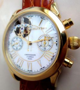 Russian chronograph Poljot Gold plated Skeleton | MoscowWatch.com